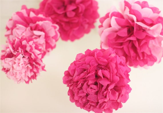 5 mixed Small Pink Tissue Paper Pom Poms Nursery Mobile / Baby Shower / Decoration FAST TO SHIP