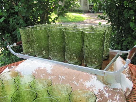 Set of 10 Anchor Hocking Pagoda bamboo pattern avocado green glasses