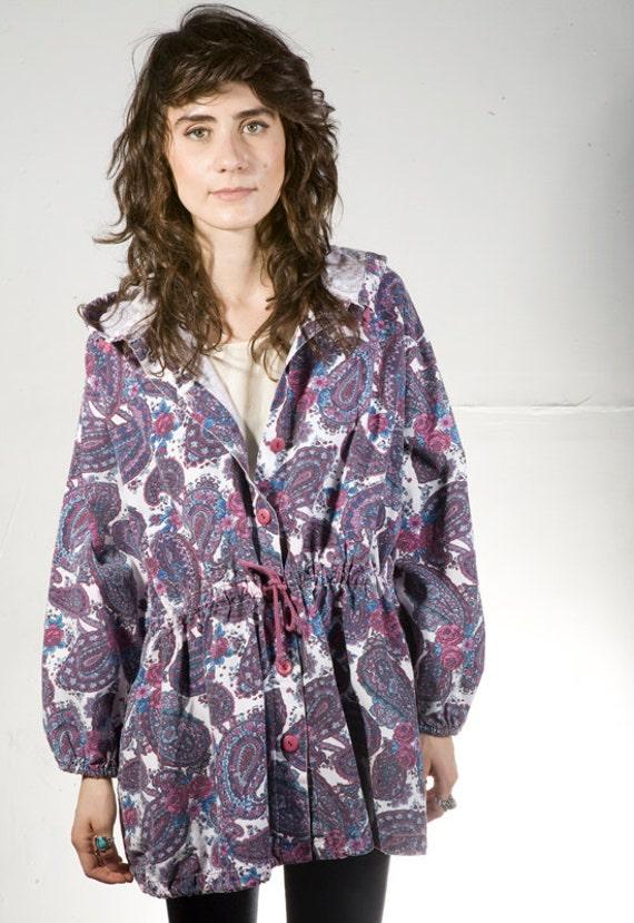 90s melrose floral PARKA toggle waist preppy JACKET coat
