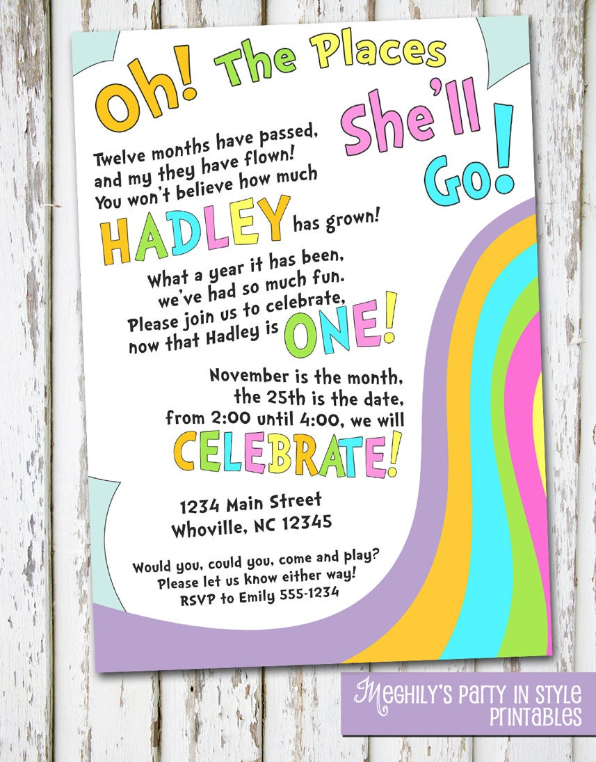 Oh The Places You'll Go Birthday Invite by Meghilys on Etsy