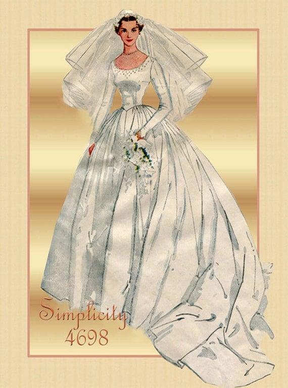 1950s wedding dress pattern simplicity 4698 bridal gown for Vintage wedding dress patterns free