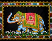 elephant sequin wall hanging tradtional cotton painting tapestry ethnic indian batik home decor handmade table runner art gift