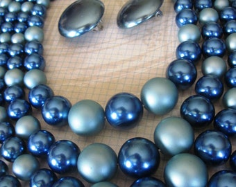 SALE Vintage Japan 4 Strand Large Blue Beaded, Matte and Shiny Necklace and Matching Clip On Large Button Earrings, Demi Parure Set
