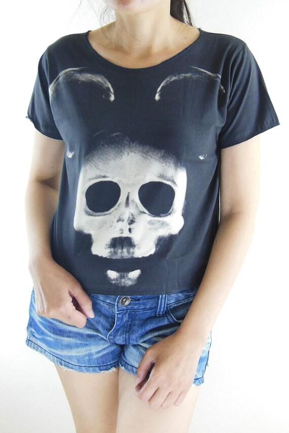 Mickey Mouse X-Ray Skull Shirt -- Mickey Mouse Shirt Women T-Shirt Crop Top Crop Tee Crop Shirt Tunic Top Shirt Black T-Shirt Size M