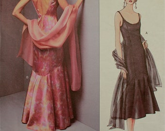 Dress & Stole by Tom and Linda Platt - 2000's -Vogue American Designers Pattern 2644  Uncut   Size 8-10-12  Bust 31.5-32.5- 34""