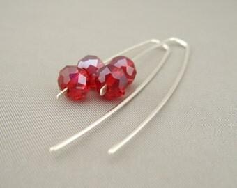 Long Red Czech Glass Sterling Silver Sleek Fresh Drop Earrings