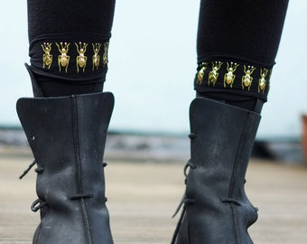 Socks Embellished Gold or Silver Printed and Studded Beetle insect knee highs or ankle highs