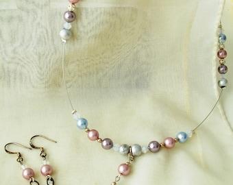 Pastel Swarovski pearl necklace and teardrop crystal earring set - pearl jewelry set - Swarovski jewelry set