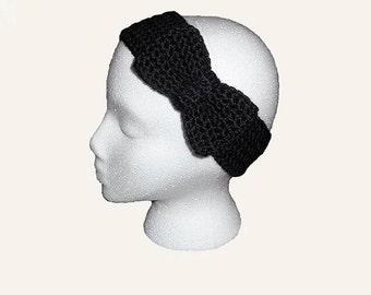 Knitted Bow Headband Ear Warmer Womens Fall Headband Stocking Stuffer For Her Hair Band Cute Headband Grey Headband Knitted Bow Earwarmer