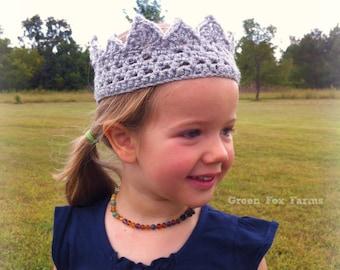 Girls Birthday Crown, Sparkly Crown, Silver Crochet Crown, Princess Crown, Girls Crochet Crown, Birthday Princess, 1st Birthday Crown