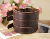 Christmas Gift, High Quality, metal buckle, natural Brown Leather Cuff, Punk Rock, Steampunk, wristband watch, vegetable tanned leather T-5