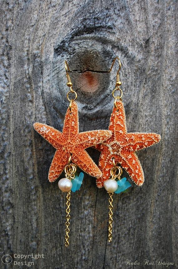 Real Starfish Dangle Earrings Starfish Hawaiian Sea Shell