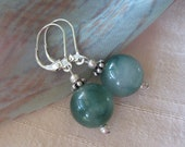 925 sea green Agate earrings Sterling Silver bali spacer beads lever back earhooks semi translucent stones