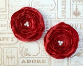2 Red Satin Organza Flowers - Holiday Hair Accessories - Winter Wedding