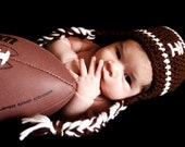 Football Hat with ear flaps. Newborn to 12 months Baby Hat.  Crochet Hat.  Baby Hat.
