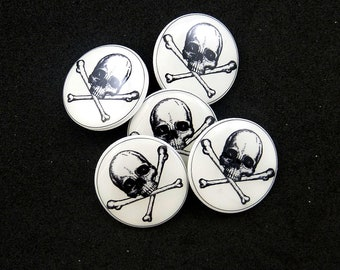 Skull Sewing Buttons.  Human Skull Handmade Buttons. 5 Shank Style.