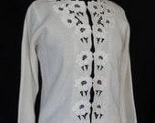 SUMMER SALE!!! /  1960s Sweater / Ivory Flower Cutwork Sweater / The Carib