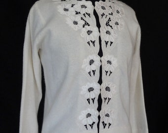 SUMMER SALE!!! /  1960s Sweater / Ivory Flower Cutwork Sweater / The Carib
