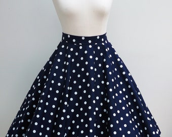 Navy and white polka fifties style full circle skirt, swing skirt, in UK sizes 6-24