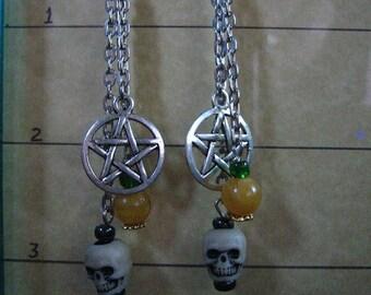 Halloween Pentagram Skull and Pumpkin Holiday Earrings