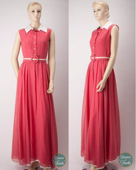 SALE: 1980s Pink Maxi Shirtwaist Dress with matching belt by Coco California