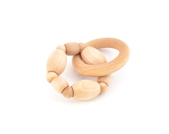 Natural Wooden Teether - Natural Baby Toy - Montessori Inspired Wooden Toy - Organic Baby Teething Ring - Keepsake Toys (H)