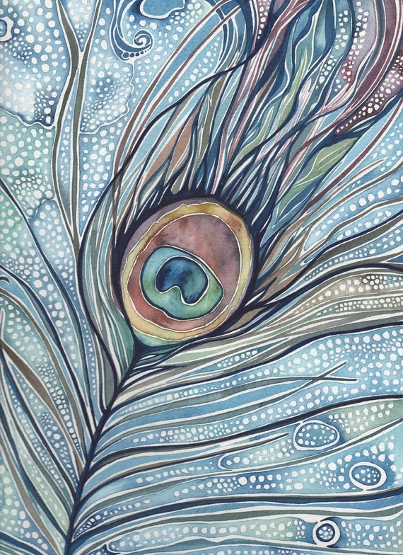 Peacock Feather watercolour print 5 x 7 of detailed hand painted artwork in whimsical rich dark blue green turquoise olive rose earth tones