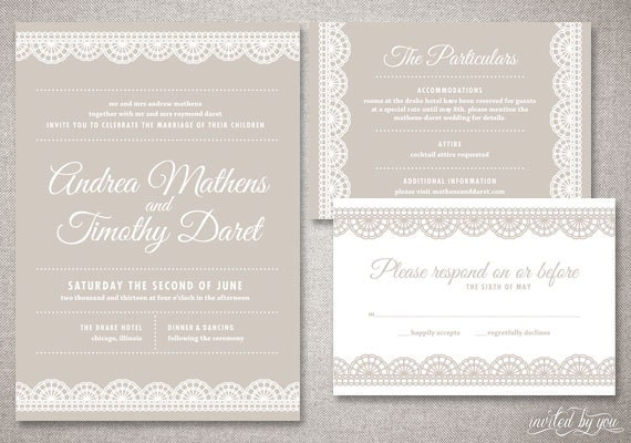 Printed Wedding Invitations: Art Deco Lace Andrea Wedding Invitations Suite