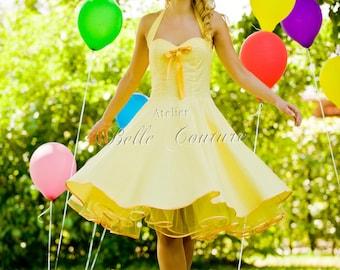 Custom Made & Handmade - 50s petticoat dress yellow/orange item: 38