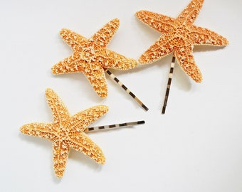 Set of 3 Starfish Mermaid Hair Bobby Pins Accessories - Bridal Accessory, Beach Wedding, Mermaid Hair Accessories, Starfish Hair Accessories