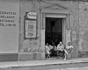 Barbershop in Merida in the Yucatan in Mexico-  black and white street photography