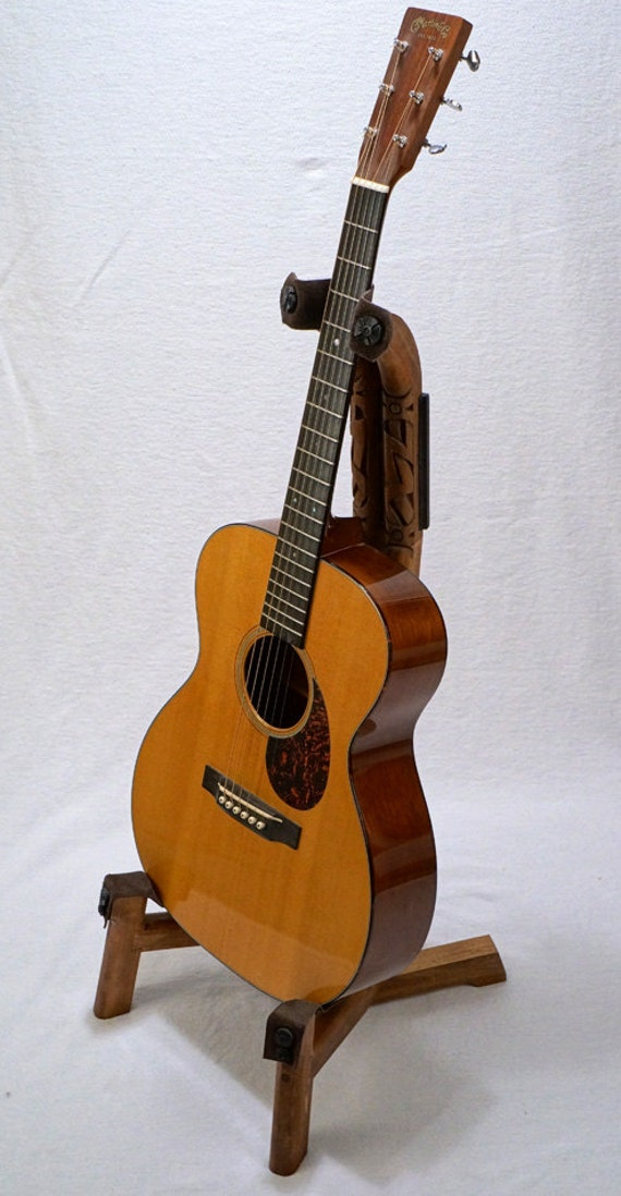 Handcrafted Wooden Guitar Stands ~ Handmade wooden guitar stand with hand carved by