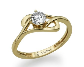 Engagement Ring- 14k Yellow Gold And Diamonds, Engagement Ring, Vintage , Promise, Diamond