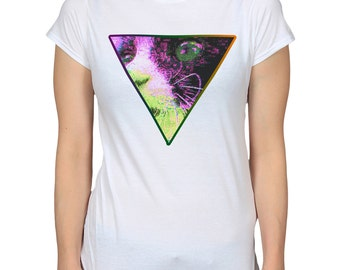 Psychedelic Cat Triangle White T-Shirt