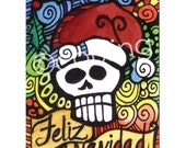 Day of the Dead Christmas Art - Feliz Navidad 'Merry Christmas' Sugar Santa Skull ACEO by Artist Cindy Couling