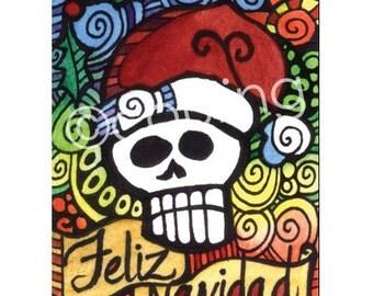 Day of the Dead Christmas Art - Feliz Navidad 'Merry Christmas' Sugar Santa Skull ACEO by Artist Cindy Couling