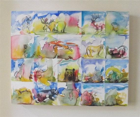 Woodland animaux art - peinture aquarelle originale - la faune oeuvre ...
