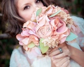RESERVED Fabric Bouquet - Medium Fabric Flower Bouquet, Vintage Pink, Vintage Wedding, Boho Bouquet -  Weddings Bouquet Bridal Accessory