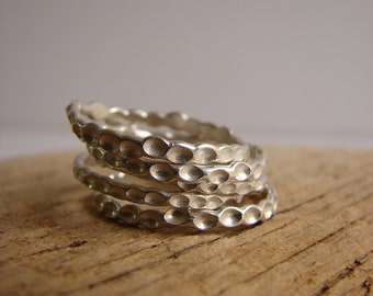 Silver Stack Rings Bright Silver Jewelry Gifts for Her Under 100