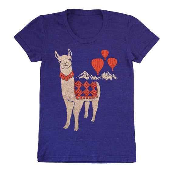 Llama - Womens T-shirt Girls Tee Shirt Adorable Cute Folk Nature Retro Mountain Llamas Alpaca Animal Hot Air Balloon Indigo Blue Tshirt