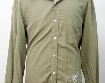 Men's Shirt / Upcycled Casual Button Down with Screen Printed Tree / Size Large XL