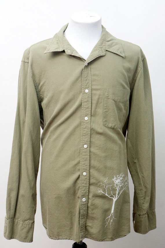 men 39 s shirt upcycled casual button down with screen