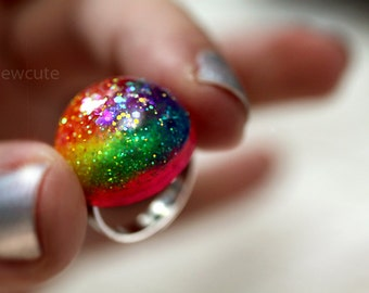 Jewelry Ring Colorful Rainbow Glittery Neon Dayglow Resin Dome Glitter Ring... childrens jewelry handcrafted by isewcute
