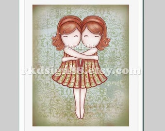 Twin sisters - nursery art print - girls room - art for baby - girl nursery decor - girls art - Gemini - red - My Lovely Best Friend