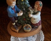 Vintage Avon Christmas Memories 1982 second edition Keeping the Christmas Tradition Children decorating Holiday Tree porcelain Figurine rare