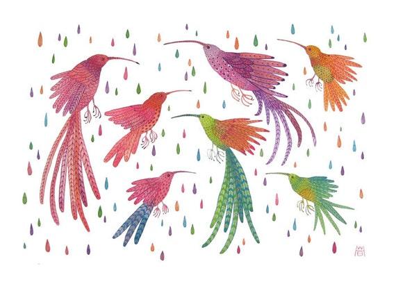 hummingbirds in the rain bird art large original gouache painting