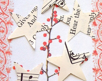 Sheet Music Stars Created From 1940s Hymnal Christmas Confetti Table Decor Scrapbook Paper Punch