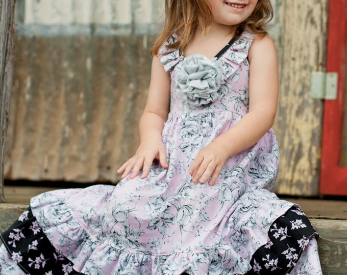 Little Girl Maxi Dress - Flower Girl Dresses - Toddler Full Length Dress - Boutique Clothes - Pink Ruffle Dress - sz 2T to 10 years