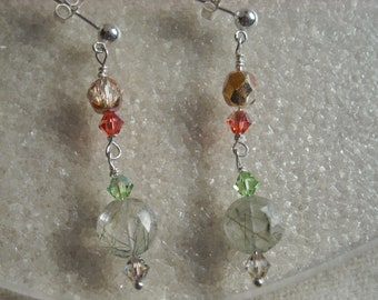 HERB GARDEN Earrings With Faceted Tourmalinated Quartz Gemstones, Czech Glass & Swarovski Crystals on Sterling Silver Posts