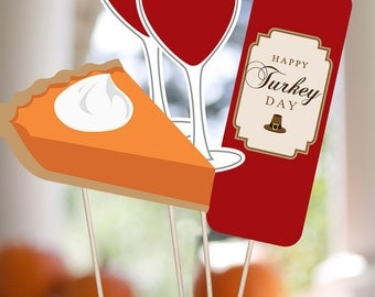 Thanksgiving Printable PHOTO BOOTH PROPS - Editable Text >>Instant Download<< Paper & Cake